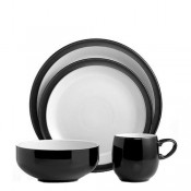 Black - 4 Piece Place Setting - Small Curve Mug