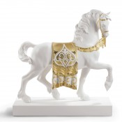 A Regal Steed Golden Figurine/Sculpture, 42cm - Re-deco