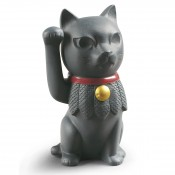 Black Maneki Neko Figurine, 13cm