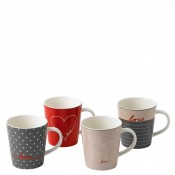 Set/4 Assorted Motifs Mugs, 11cm, 485ml