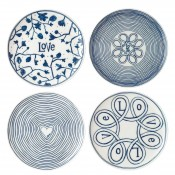 Set/4 Assorted Motifs Dessert/Side Plates, 21cm