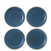 Mixed Blue - Set/4 Assorted Designs Dessert/Salad Plates, 22cm