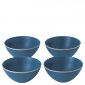 Mixed Blue - Set/4 Assorted Designs All Purpose/Soup Bowls, 15.5cm, 415ml