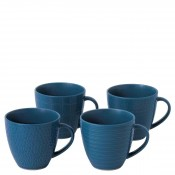 Mixed Blue - Set/4 Assorted Designs Mugs, 9.5cm, 355ml