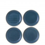 Mixed Blue - Set/4 Assorted Designs Bread & Butter/Side Plates, 16cm