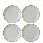 Mixed White - Set/4 Assorted Designs Dessert/Salad Plates, 22cm