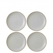 Mixed White - Set/4 Assorted Designs Bread & Butter/Side Plates, 16cm