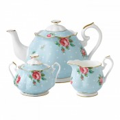 3 Piece Tea Set, Polka Blue