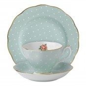 3 Piece Place Setting, Polka Rose