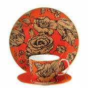 3-Piece Tea Set - Orange Floral
