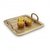 Square Wooden Tray with Rope Handles. 38cm