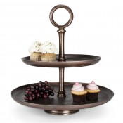 2-Tier Copper Plate Cake Stand with Ring Handle, 46cm