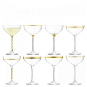 Set/8 Assorted Designs Coupe/Saucer Champagne Glasses,  17cm, 225ml