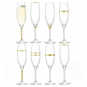 Set/8 Assorted Designs Champagne Flutes,  24cm, 235ml