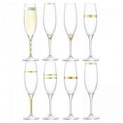 Set/8 Assorted Designs Champagne Flutes,  24cm, 235ml