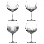 Set/4 Assorted Designs Balloon/Copa Gin Glasses, 19.5cm, 650ml