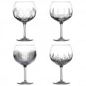 Set/4 Assorted Designs Gin Balloon/Copa Glasses, 19.5cm, 650ml