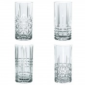 Set/4 Assorted Highballs/Long Dink Glasses, 15cm, 375ml - Different Cuts