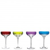 Set/4 Assorted Designs Coupe/Dessert Champagne Glasses, 15cm, 80ml - MIxed Colours