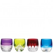 Set/4 Assorted Designs Double Old Fashioned Glasses, 9.5cm, 250ml - Mixed Colours