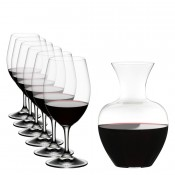 6 Magnum Red Wine Glasses, 530ml & Apple Wine Decanter/Carafe, 1.5L