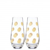Set/2 Stemless Champagne Flutes, 14.5cm, 175ml - Gold Dot