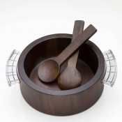 Round Wood Salad Bowl with Crystal Handles & Wood Salad Servers