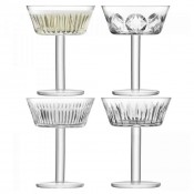 Set/4 Assorted Designs Dessert/Coupe Champagne/Cocktail Glasses, 14cm, 250ml