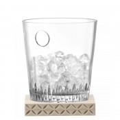 Glass Ice Bucket with Ash Wood Base, 18.5cm
