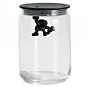Gianni Medium Glass Jar, Black