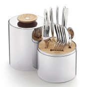 Service for 6 People 24-Piece Cutlery Set with Cylindrical Storage Capsule - Stainless Steel
