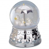 Something Duckie Silver Plate Musical Rain Globe, 17cm