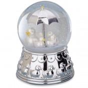 Something Duckie Silver Plate Musical Rain Globe, 17cm