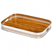 Cross - Oblong Gallery Tray with Wooden Base, 60x40cm