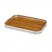 Cross - Oblong Gallery Tray with Wooden Base, 58x41cm