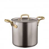 Stainless Steel Stock Pot with Lid & Brass Handles, 20cm, 5.5L (5.8qt)