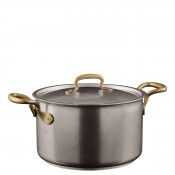 Stainless Steel Sauce Pot with Lid & Brass Handles, 24cm, 6.5L (6.8qt)