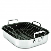 Stainless Steel Roti/Roasting Pan with Nonstick Rack, 40.5x33cm - Large - Nonstick Coated Base
