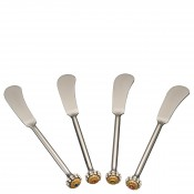 Set/4  Filigree Butter Knives, 15cm - Brass/Silver
