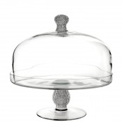 Glass Cake Stand with Dome, 30.5cm - Silver