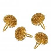 Aster - Set/4 Napkin Rings, 5cm - Gold