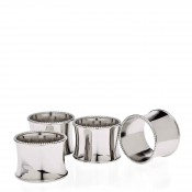 Set/4 Silver Plate Round Beaded Napkin Rings, 5cm