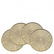Art Dax - Set/4 Round Wine/Beverage Coasters, 9.5cm - Gold