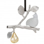 Partridge in a Pear Tree Ornament, 12.5cm - Goldtone