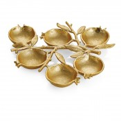 6 Compartment Serving Plate, 30.5x27.5cm - Goldtone