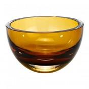 Round Crystal Bowl, 15cm - Amber