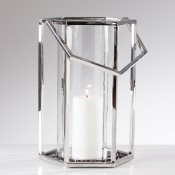 Stainless Steel Hexagon Hurricane Lantern, 53.5cm - Tall