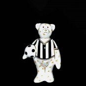 Miniature Footballer Bear Paperweight, 9cm - Black