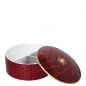 Round Bone China Jewelry Box with Lid, 12.5cm, 355ml - Ruby
