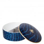 Round Bone China Jewelry Box with Lid, 12.5cm, 355ml - Sapphire